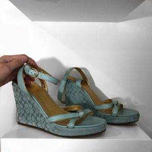 Coach Blue and Gold Strappy Wedges